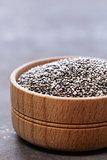 Chia seeds in a wooden bowl, super food