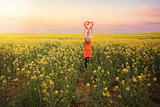 Woman in Canola Fields in Young Country NSW