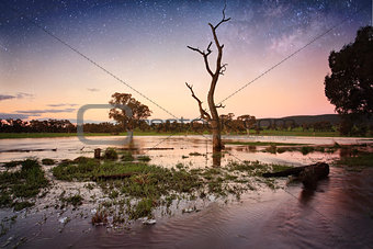Floodwaters dusk to evening Outback Australia