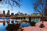 Portland Downtown Winter Night Scene