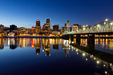 Portland Downtown Skyline Winter Blue Hour