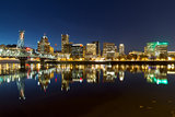 Portland City Skyline Reflection on Willamette River