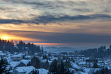 Winter Snow at Sunset in Happy Valley Oregon