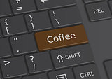 The word Coffee written on the keyboard