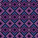 Knitted seamless pattern in purple and blue