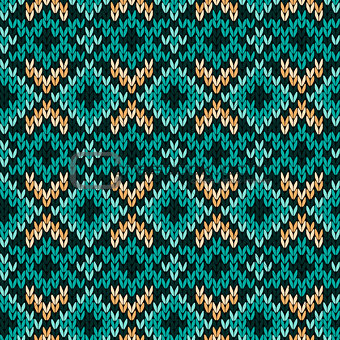 Knitted seamless pattern mainly in turquoise
