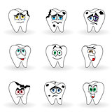 Set of nine funny cartoon teeth