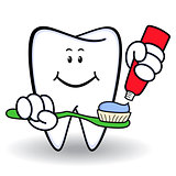 Amusing healthy cartoon tooth