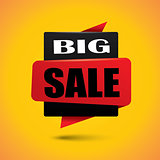 Big sale bubble banner in vibrant black and red colors