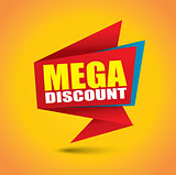 Mega discount price bubble banner in vibrant colors