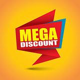 Mega discount price bubble banner in vibrant colors