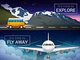 Vector travel banners set. Passenger airplane in the clouds., Alps mountains, minibus in the wild