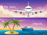 Vector travel banners set. Passenger airplane in the clouds., cruise liner