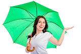 portrait of a smiling happy girl with a green umbrella isolated