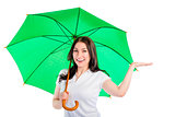 woman under the umbrella put his hand isolated