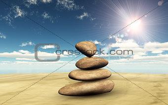 3D balancing pebbles on sand against a sunny sky