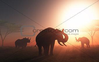 3D wild animals at sunset