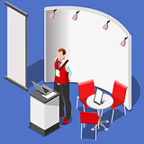 3D Exhibition Booth Stand People Isometric Vector Illustration