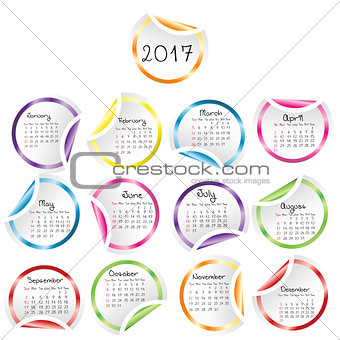 Calendar 2017 with round glossy stickers