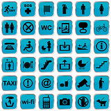 International service icons blue buttons