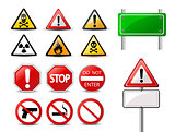 Road signs and Triangular Warning Hazard Signs