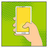 Comic smartphone phone with halftone shadows. Hand holding smartphone. Pop art retro style. Flat design. Vector illustration eps 10