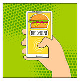 Comic phone with halftone shadows and Hamburger. Hand holding smartphone with buy online internet shopping. Fast food background. Pop art retro style. Flat design. Vector illustration eps 10