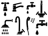 plumbing set with isolated faucet icons