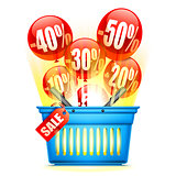 Shopping Basket with Sale Anouncement