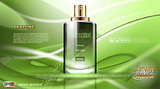 Digital vector green glass perfume for men