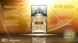 Digital vector brown and yellow glass perfume