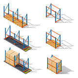 Storage racks for pallets, presented in various combinations elements of infographics