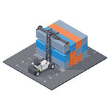 Port loader stacks 40 foot containers isometric icon