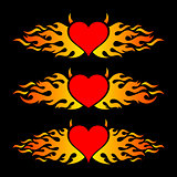 Flaming heart trendy design logo templates