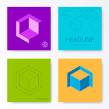 Minimalist square card cover design templates