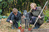 Mother and Teenage Son, Woman and Boy, Gardening