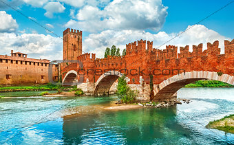 Bridge with archs Castelvecchio over river Adige