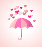 Paper hearts and umbrella