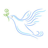 Peace dove sketch vector illustration.