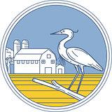 Great Blue Heron Farm Barn Circle Retro