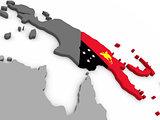 Papua New Guinea on globe with flag