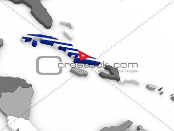Cuba on globe with flag