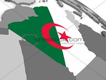 Algeria on globe with flag