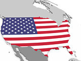 USA on globe with flag