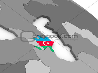 Azerbaijan on globe with flag
