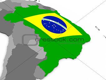 Brazil on globe with flag