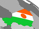 Niger on globe with flag