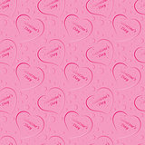 seamless pattern of red hearts, valentines day on a  background