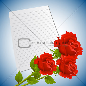 Greeting or invitation card with bouquet of red roses and sheet  paper.