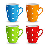 Collection of colorful cups with white dots template